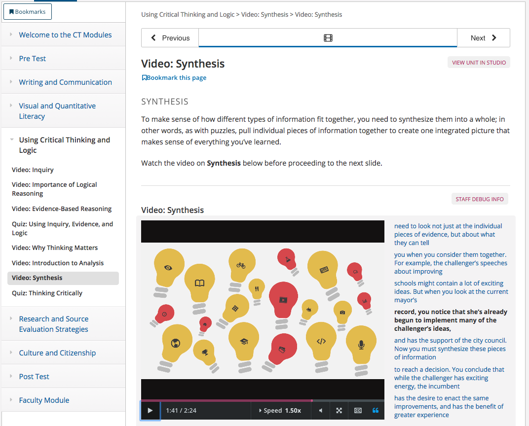 Screenshot of the CT Modules, which looks similar to the InfoLit Modules however with different videos and tutorials