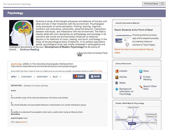Academic Topic Pages screenshot